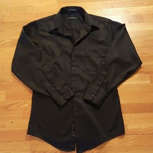 EUC GEOFFREY BEENE Black Fitted Long Sleeve Sateen